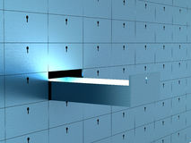 Open cell in safety deposit box. Royalty Free Stock Photos