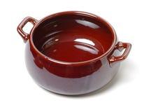 Open ceramic pot. Isolated on white background stock photos