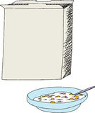 Open Cereal Box and Bowl. Open cereal box with bowl of corn flakes over white Royalty Free Stock Images
