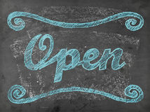 'Open' chalk writing on chalkboard Stock Photos