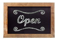 'Open' chalk writing on chalkboard Stock Photography