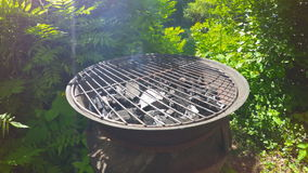 Open charcoal grill. stock video