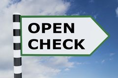 Open Check concept. 3D illustration of OPEN CHECK script on road sign Stock Photos