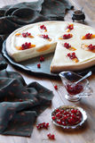 Open Cheese Pie with Peaches and Red Currants. On wooden table Royalty Free Stock Photo