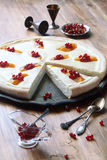Open Cheese Pie with Peaches and Red Currants Stock Images