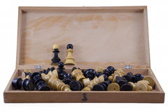 Open chess board with chess pieces isolated Royalty Free Stock Images