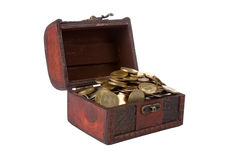 Open chest with coins Royalty Free Stock Photo