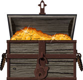 An open chest of coins. Old, shabby Open pirate chest with gold coins vector illustration