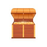 Open chest with coins vector illustration