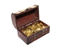 Open chest full of money Royalty Free Stock Photo