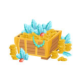 Open Chest With Golden Coins, Blue Crystals And Jewelry, Hidden Treasure And Riches For Reward In Flash Came Design Stock Image