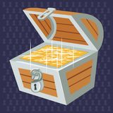 Open chest with golden coins. Fabulous pirate treasure chest pirates. Vector Stock Photo