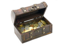 Open chest with money. Wooden chest with coins inside isolated Royalty Free Stock Image