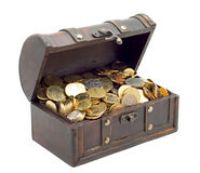 Open chest with money. Wooden chest with coins inside isolated Stock Photos
