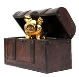 Open chest with piggy bank Royalty Free Stock Photography