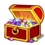 Open chest with precious colored stones Stock Photos