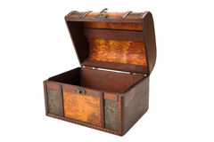 Open chest, wooden trunk Royalty Free Stock Photo