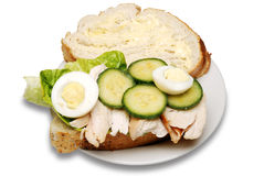 Open chicken sandwich. Open chicken sandwich isolated on a white background stock photography