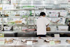Open chinese commercial kitchen in a restaurant Stock Photography