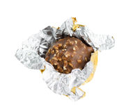 Open chocolate candy. Isolated on white Stock Photo