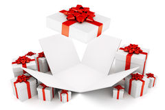 Open Christmas or birthday present Royalty Free Stock Photos