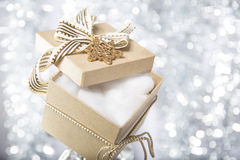 Open christmas gift box with cotton wool Stock Photo