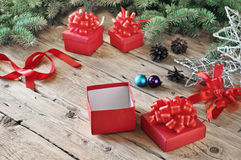 Open Christmas red gift box with Christmas toys Stock Images