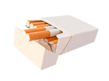 Open cigarette box. A cigarette box with filter cigarettes on white background Royalty Free Stock Images