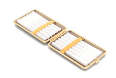 Open cigarette case. Isolated object. White background Royalty Free Stock Images
