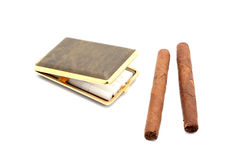 Open cigarette case and cigars. Isolated object. White background Stock Photo