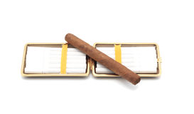 Open cigarette case and cigars. Isolated object. White background Stock Images
