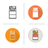 Open cigarette pack icon. Flat design, linear and color styles.  vector illustrations Royalty Free Stock Image
