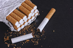 Open cigarette pack Royalty Free Stock Photo