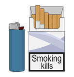 Open cigarettes pack with gas lighter. Color. Open cigarettes pack with blue disposable gas lighter. Clip art color illustration  on white Stock Image