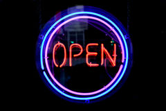 OPEN circle neon sign Royalty Free Stock Image