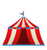 Open circus stripe tent isolated on white backgrou Stock Image