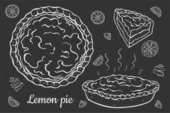 Open citroenpastei op zwarte vector illustratie