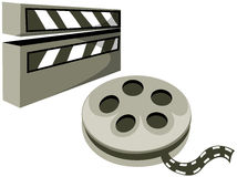 Open clapboard reel and film. Illustration of isolated open clapboard reel and film on white Royalty Free Stock Photography