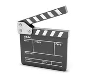 Open clapboard  on a white Stock Photography