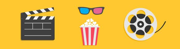Open clapper board. 3D glasses Movie reel Popcorn box. Cinema icon set line. Flat design style. Yellow background. Isolated. Vector illustration royalty free illustration