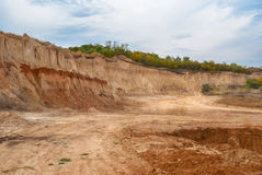 An open clay pit. In central Ukraine Royalty Free Stock Images