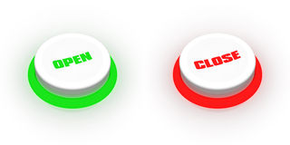 Open/close buttons. A pair of buttons labeled open and close Royalty Free Stock Images