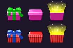 Open and close colored Gift Box. Red and pink gifts icons. vector illustration