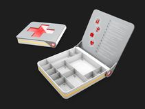 Open and Close First aid kit box with instruction, isolated black 3d Illustration.  Royalty Free Stock Photography