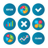 Open and Close icons. Check or Tick. Delete sign. Stock Images