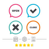 Open and Close icons. Check or Tick. Delete sign. Open and Close icons. Check or Tick. Delete remove signs. Yes correct and cancel symbol. Calendar, internet Royalty Free Stock Photo