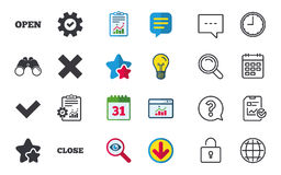 Open and Close icons. Check or Tick. Delete sign. Royalty Free Stock Images