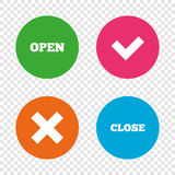 Open and Close icons. Check or Tick. Delete sign. Royalty Free Stock Photo