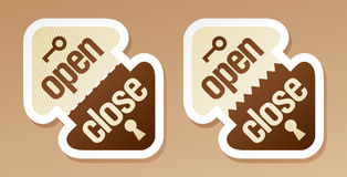 Open and close packing signs Royalty Free Stock Photography