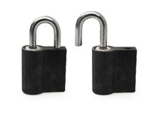 Open and close pad lock Stock Photos